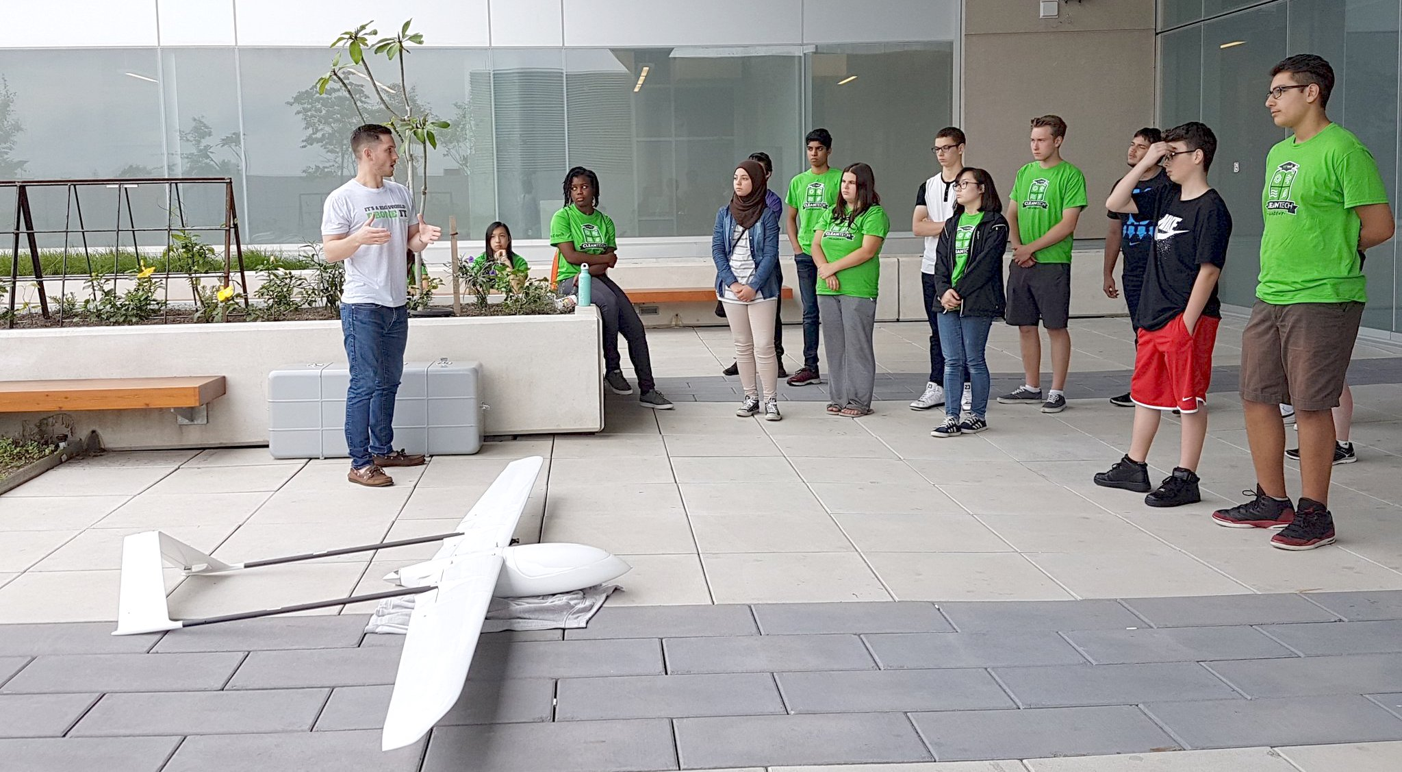 Ryan Cant of Envirodrone presenting to the students of CleanTech academy.