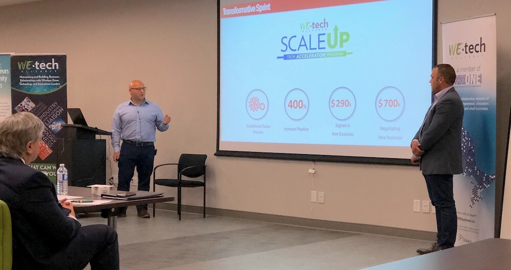 Nick Scozzaro and Jason Musyj make their winning pitch to the ScaleUP Tech Accelerator judges